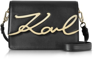 Karl Lagerfeld Paris Black Leather K/signature Shoulder Bag