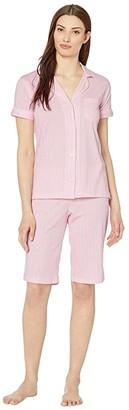 Lauren Ralph Lauren Cotton Rayon Jersey Knit Short Sleeve Dolman Notch Collar Bermuda Pajama Set (Pink Stripe) Women's Pajama Sets
