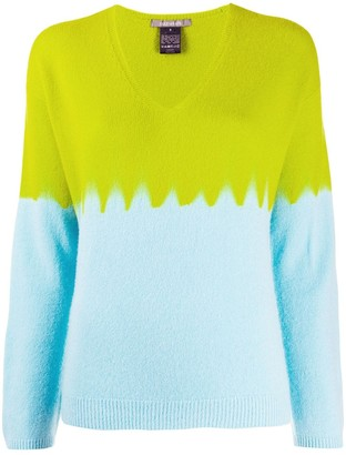 Suzusan V-Neck Colour Blocked Jumper