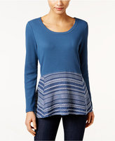 Style&Co. Style & Co Petite Waffle-Knit Mixed-Media Top, Only at Macy's