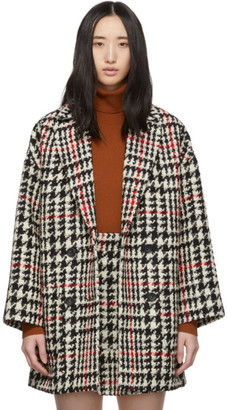 RED Valentino Black and Red Check Tweed Coat