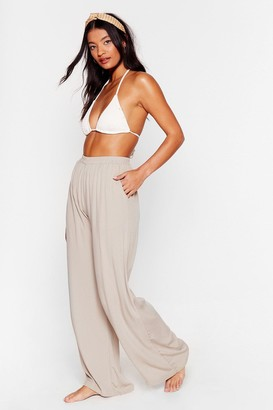 Nasty Gal Womens We Sea Everything Wide-Leg Cover-Up Pants - Stone