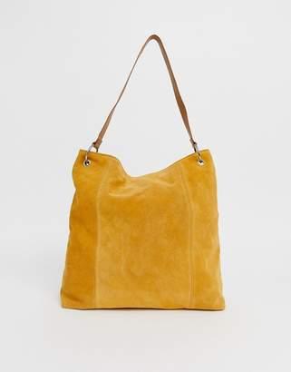 Asos Design DESIGN suede shopper bag with ring detail-Yellow