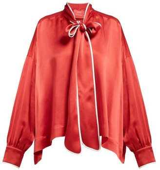 F.R.S For Restless Sleepers F.R.S – For Restless Sleepers Pussy-bow Crepe Blouse - Womens - Red