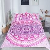 Sleepwish Red Purple Mandala Duvet Cover Boho Floral Mandala Pattern 3 Piece Bohemian Bedding Sets for Girls (Queen)