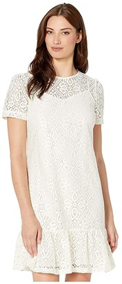 MICHAEL Michael Kors Ruffle Tee Dress (Bone) Women's Clothing