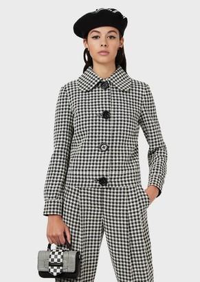 Emporio Armani Gingham-Houndstooth Jacquard Jacket