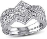 0.63ctw Princess and Round Diamond 14K White Gold 2-Ring Bridal Set