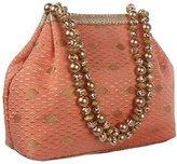Yumi Exclusive Ethnic Traditional Partywear (3 button) Potli/wristlets Handbag for Women -Peach