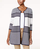 Charter Club Petite Cotton Geo-Print Open-Front Cardigan, Created for Macy's