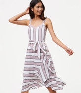 LOFT Striped Ruffle Wrap Dress