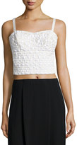 Phoebe Couture Embellished Cropped Tank Top, White