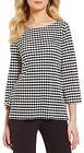 Preston & York-preston york arlene round neck 34 sleeve printed knit blouse