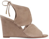 Aquazzura Iman Cutout Suede Wedge Sandals - Mushroom