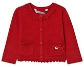 Mayoral Red Knit Cardigan with Scalloped Collar