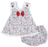 Fantaisie Kids Girls' Casual Dresses Red - Red & Gray Floral Lace-Trim A-Line Tunic & Bloomers - Infant