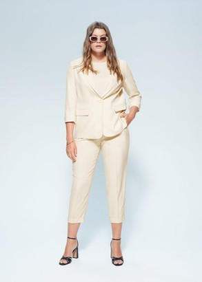 MANGO Violeta BY Pocket suit blazer beige - S - Plus sizes