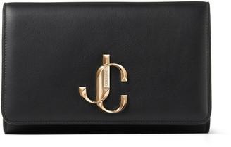 Jimmy Choo VARENNE CLUTCH Black Calf Leather Clutch Bag with Gold JC Logo