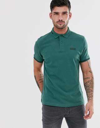 Barbour International essential tipped polo in teal-Green