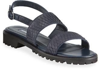 Manolo Blahnik Gad Snakeskin Slingback Sport Sandals
