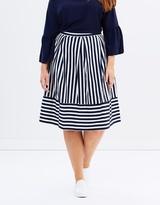 Stripe Contrast Hem Skirt