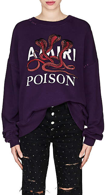 "Amiri Women's ""Poison"" Snake-Embroidered Cotton Sweatshirt - Purple"