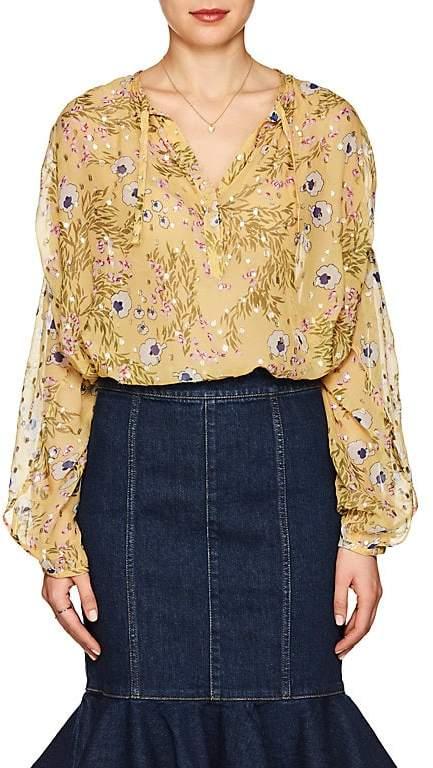 Isabel Marant Women's Mia Floral Silk Peasant Blouse