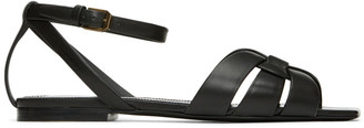 Saint Laurent Black Tribute Flat Sandals