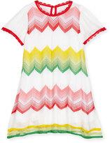 Missoni Short-Sleeve Zigzag Shift Dress, Multicolor, Size 4-10