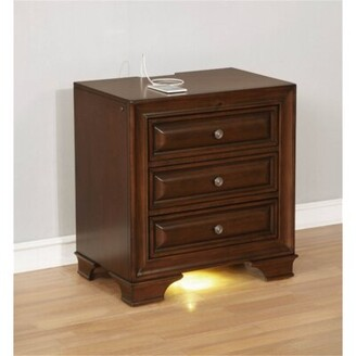 Canora Grey Crowborough 3 Drawer Nightstand Color: Brown Cherry