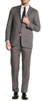 Hickey Freeman Gray Woven Two Button Notch Lapel Wool Regular Fit Suit