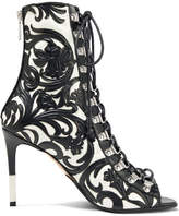Balmain Club Lace-up Two-tone Leather Ankle Boots - Black