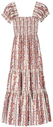 Tory Burch Printed Smocked Midi Dress