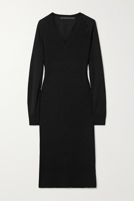 Haider Ackermann Ribbed Wool And Silk-satin Midi Dress - Black