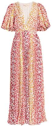 Rococo Sand Avana Leopard Print Pleated Maxi Dress