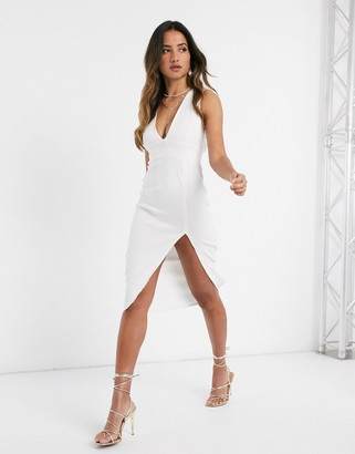 Vesper plunge front midi dress with split in ivory