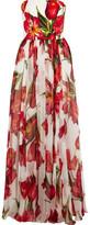 Dolce & Gabbana Floral-Print Silk-Blend Matelassé And Chiffon Gown