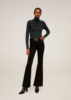 MANGO Turtleneck ribbed sweater forest green - S - Women
