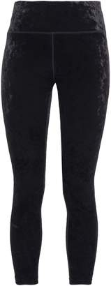 DKNY Cropped Stretch-velvet Leggings