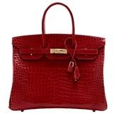 Hermes pristine (PR Braise Shiny Porosus Crocodile 35cm Birkin Bag with Palladium Hardware