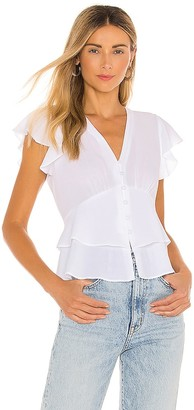 1 STATE Flutter Sleeve Button Front Blouse