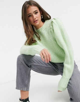 Topshop pleated sleeve jumper in pastel green