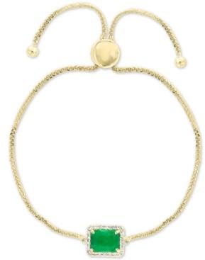 Effy Emerald (1-3/8 ct. t.w.) & Diamond (1/5 ct. t.w.) Bolo Bracelet in 14k Gold