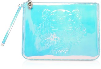 Kenzo White Preppy Tiger Embossed Eco-Leather Clutch