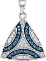 GnD 10kt White Gold Womens Round Colored Diamond Triangle Cluster Pendant 1/3 Cttw