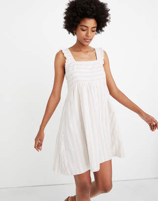 Madewell Ruffled Square-Neck Dress in Stitched Rainbow Stripe