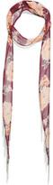 Chan Luu Embellished Floral-print Georgette Scarf - Burgundy