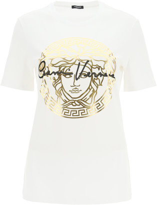 Versace T-SHIRT MEDUSA GV SIGNATURE 38 White, Gold, Black Cotton