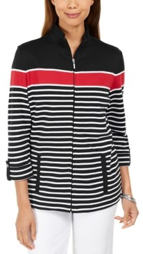 Karen Scott Printed Mock-Neck Jacket, Created for Macy's