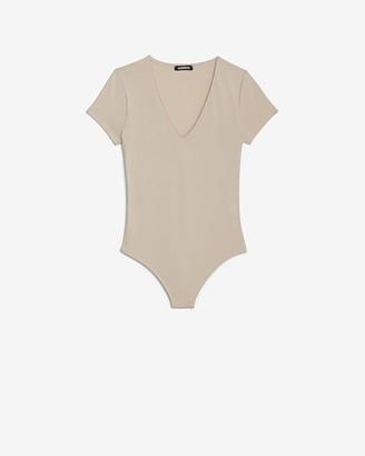 Express V-Neck Short Sleeve Thong Bodysuit